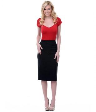 Classic casual black high waist pencil skirt