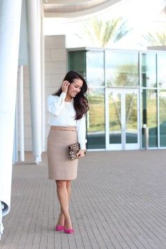 Camel Pencil Skirt with white long sleeve top