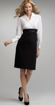 Long sleeve belt Black pencil skirt with high waist