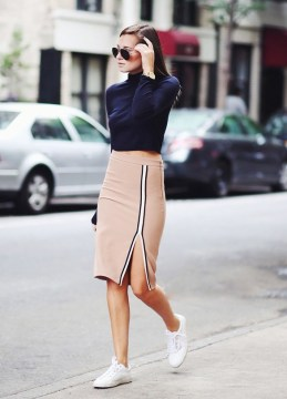 Camel Pencil skirt, cropped top and sneakers