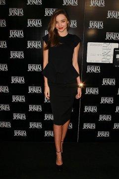 Miranda Kerr black Peplum dress and pencil skirt
