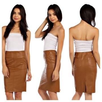 Camel Vegan Leather Pencil Skirt