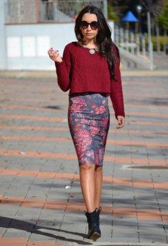 Knitted Crop Top, Flower Pencil skirt, boots