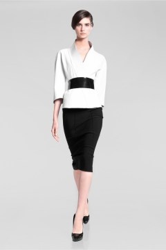Formal black pencil skirt outfit