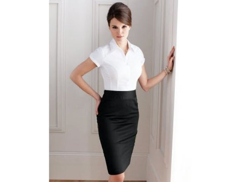 Black pencil skirt with short-sleeved button-down blouse