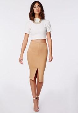 Front Split Camel Pencil Skirt