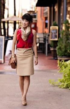 Loft abstract red shell, leopard scarf, camel pencil skirt