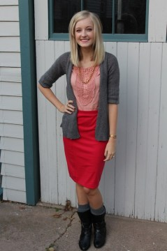 Pink pencil skirt black boots gold chain necklace gray sweater