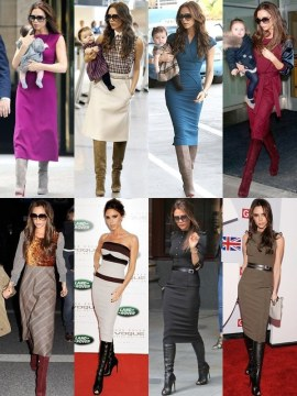 Victoria Beckham knee high boots and pencil skirts