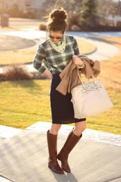 Pencil skirt, plaid shirt, riding boots, pearl gear