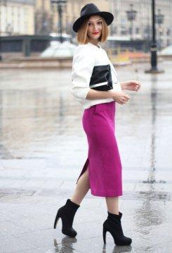 White jacket Fuchsia skirt black heeled boots