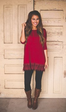 Red tunic with leggings and boots