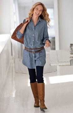 Denim tunic with leggings
