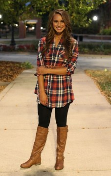 Dress in plaid shirt with leggings