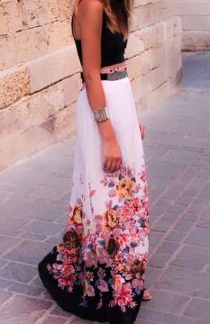Summer floral maxi skirt