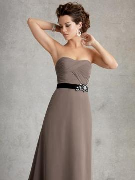 JOR_Draped chiffon body with satin waistband set with pearl necklace