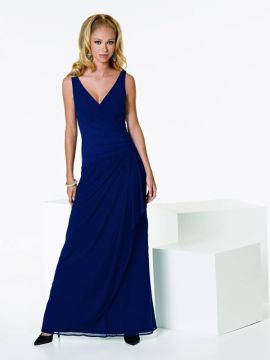 JOR_Draped V-neck Stretch Illusion Midnight Gown with Ruffled Bridesmaid Skirt