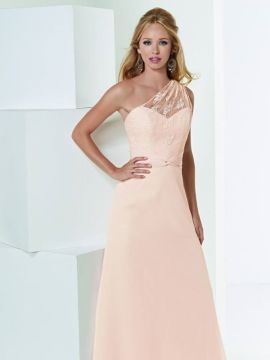 JOR_Lace a shoulder body with draped chiffon detail at the waist and A-line skirt