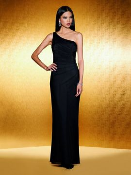 JOR_One Shoulder Stretch Illusion Dress with side draping.