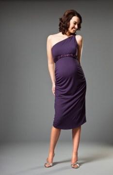 Grape One Shoulder Maternity Cocktail Dress