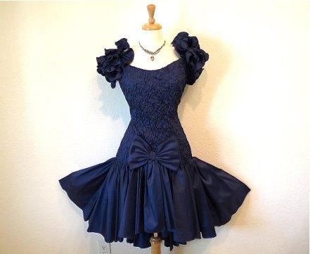 Vintage 1950's Blue Tafetta Bow Cocktail Dress