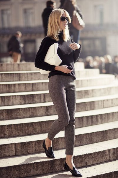 black loafers sweater gray leggings outfit