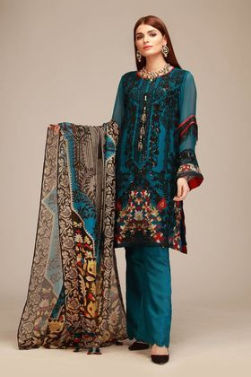 Khaadi 3 piece Custom Stitched Suit - Green - LCP18403 | Salwar .