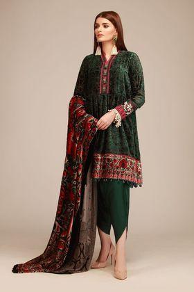 Khaadi 3 piece Custom Stitched Suit - Green - LCSV18402 .