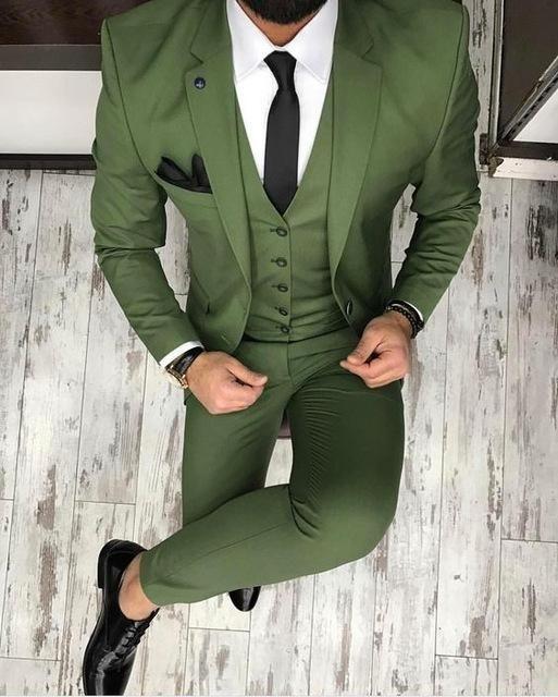 Green Men's Suit Business Style 3 Piece Suits Tuxedo .
