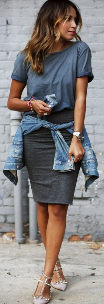 pencil skirt with a regular t-shirt