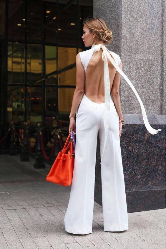 backless jumpsuit knot halter neckline