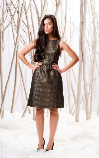 black gathered metallic waist dress with heels