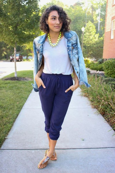 blue washed denim jacket with blue cut waist trousers and thong sandals