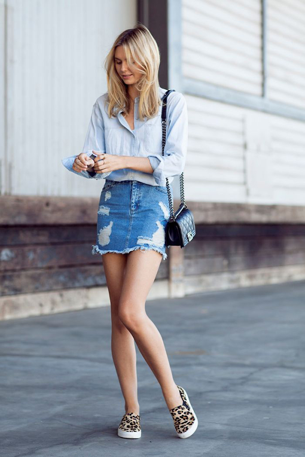 denim skirt long legs
