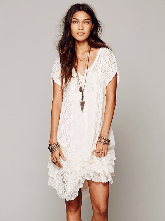 white boho casual short sleeves