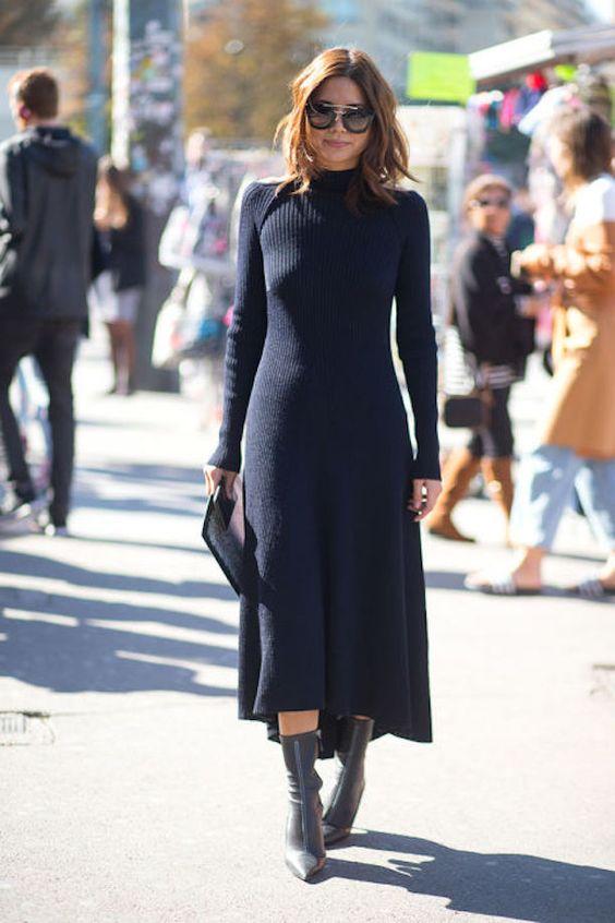 black knitted dress in turtleneck