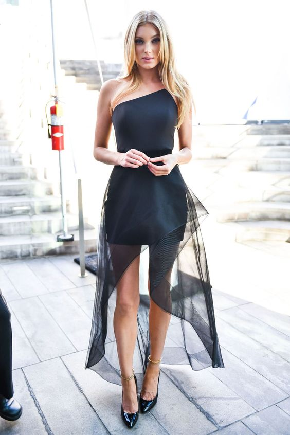 black strapless dress elegant tulle
