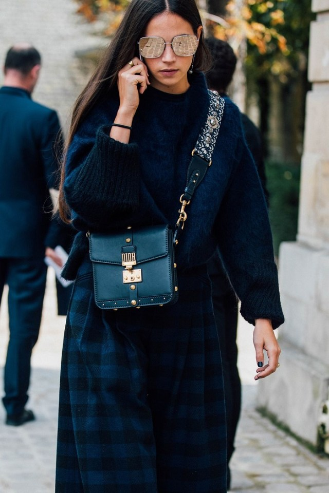 black double bag navy blue