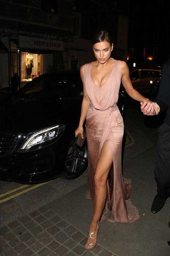rouge pink dress high slit