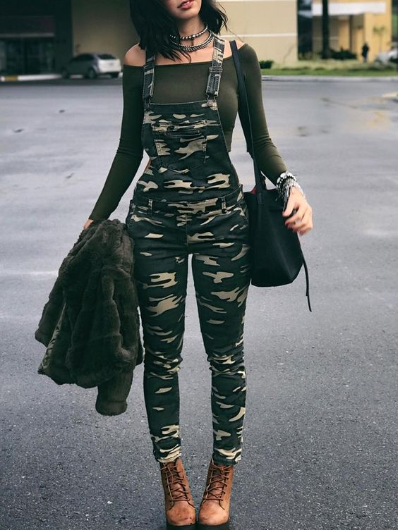 camo overalls olive green top