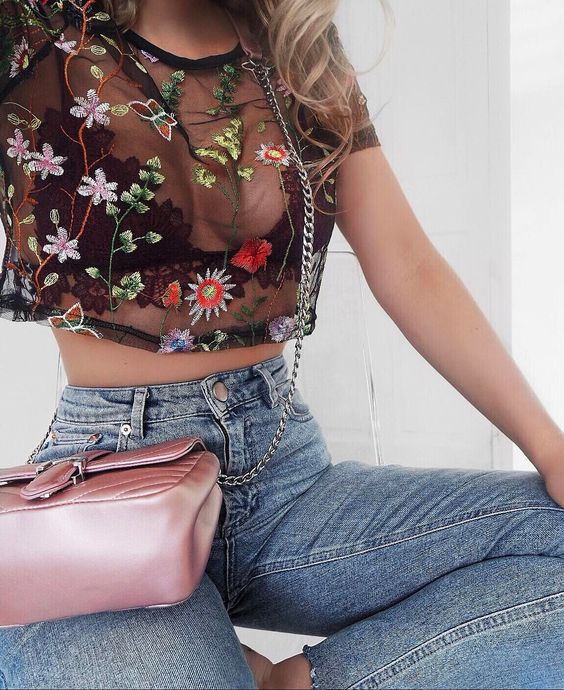 embroidered mesh top high waist jeans soft pink bag