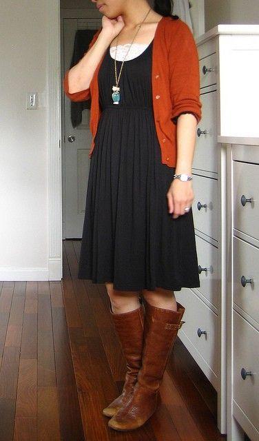 brown cardigan waist dress