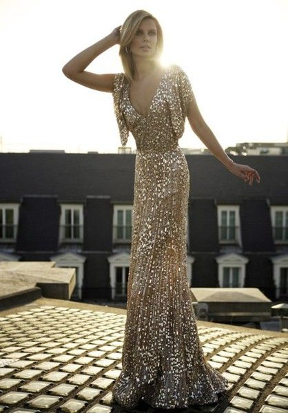 gold glittering dress long