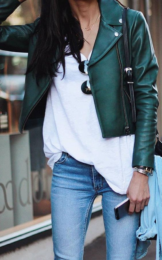 green leather jacket chic casual