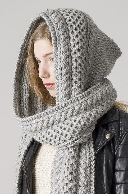 hood scarf gray