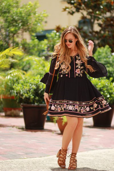 black baby doll embroidered mini dress