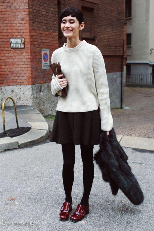 black skater dress model off duty