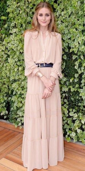 blush puff sleeve belt maxi pleated dress