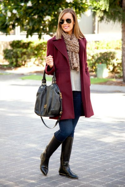 burgundy fur with leopard print scarf and knee-high boots