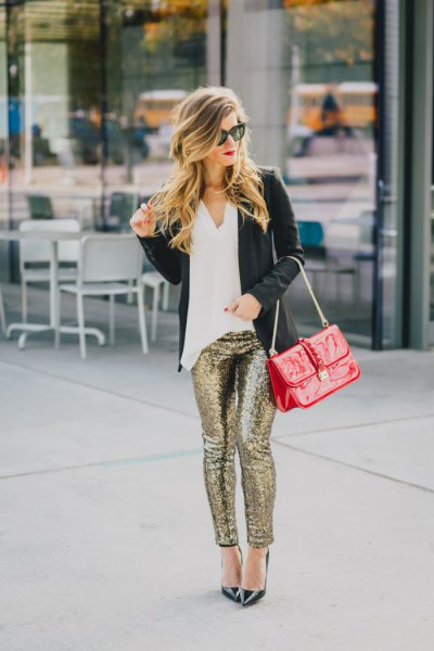 white blouse black blazer with gold sequins in sequins